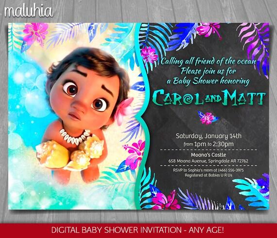 Moana Baby Shower Invitation Disney Baby Moana Invite