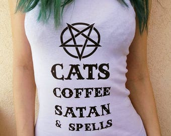 Digital Print White T-shirt Cats Coffee Satan And Spells