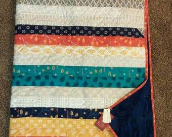 Valley Moda Throw Quilt | Strip Quilt | Minky | Navy, blue, teal, cream, red, orange | floral, geometric