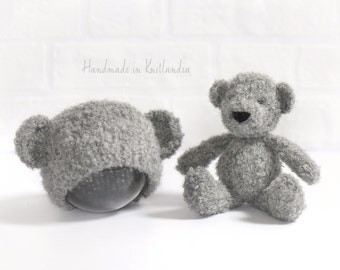 Small Teddy Bear and Matching Hat, Handknitted Toy and Hat Set, Newborn Photo Prop