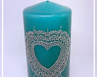 Blue henna candle