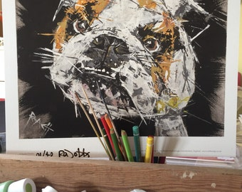 Gary // Great British Bulldog Print //  Dog art // pet portrait // Animal artwork // Such a super cool pooch //