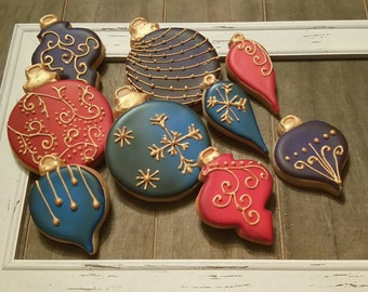 Gold Trimmed Ornaments - One Dozen
