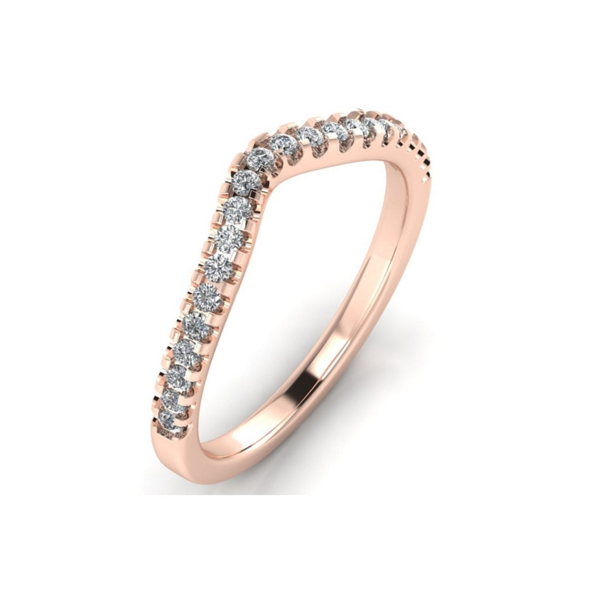 14K Rose Gold Curved Diamond Wedding Band For Women 020