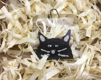 Fused glass cat, gift tag, decoration, cat, cat ornament, gift for her, gift for cat lover, fused glass, cat gift