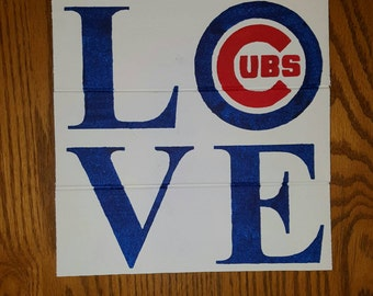 Cubs Love Wood Sign