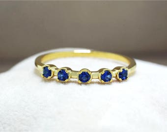 925 Sterling Silver - Sapphire 12k Gold Ring (S411)