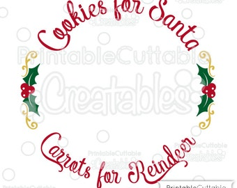 Cookies for Santa SVG Cutting File Plate Design Set T041 + Milk for Santa SVG File T057 - Includes Limited Commercial Use!