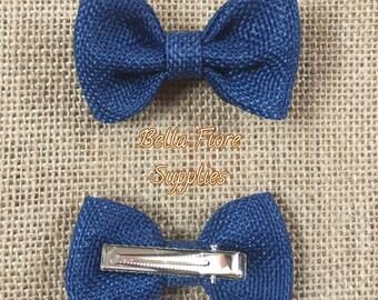 Navy Blue Burlap Bow with Clip- 2.75 inch- Burlap Hair Bow- Wholesale Hair Clips