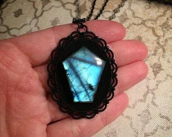 SALE! Labradorite coffin necklace // gothic necklace // casket necklace // death necklace // labradorite necklace / labradorite rosary chain