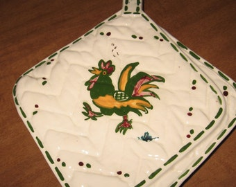 Lovely Rooster Vintage Handmade Potholder Ceramic Wallpocket......Very Unique and Charming