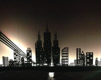 Batman Gotham City lighted tri-layer skyline!