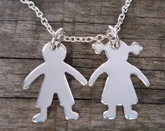 Boy and Girl Necklace, Boy Charm, Girl Charm, Children Charm, Boy Love Girl 925 Sterling Silver Charm Pendant Chain Necklace Father's day