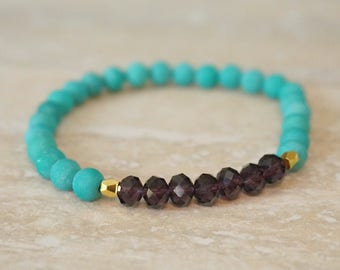 Ready to ship, sale, turquoise bracelet, purple crystals