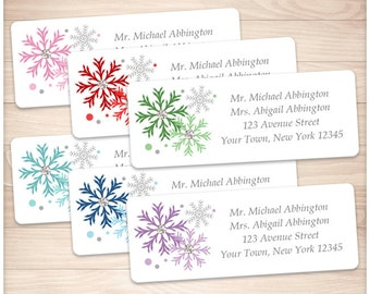 """Printable Colorful Snowflake Address Labels Winter - Multicolored Personalized 2 5/8"""" x 1"""" Address Labels - Editable PDF - Instant Download"""