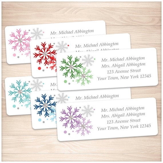 printable colorful snowflake address labels winter