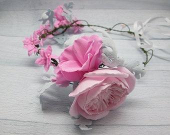Bridal flower crown Christmas wedding Bridal hair crown Winter wedding Grey pink floral Grey pink flower Winter crown Hair wreath Pink crown