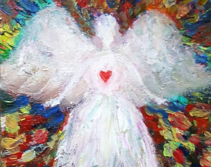 GUARDIAN angel-Limited Edition-original hand-painted acrylic on canvas- abstract style- impressionism- Unique gift.