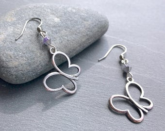 Whimsical silver butterfly and purple Swarovski crystal earrings