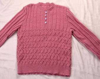 1940s Style Hand Knitted Lace & Rib Pattern Jumper