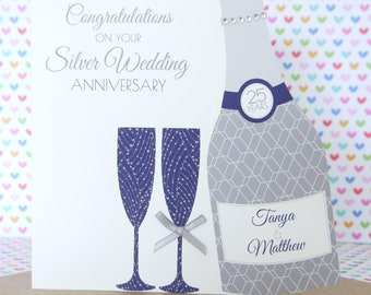 Personalised Handmade Silver/25th Wedding Anniversary Card, Friends, Sister, Brother, Mum & Dad, Friends