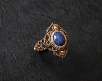 Sapphire Macrame Ring / MADE IN JAPAN
