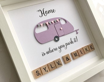 Caravan gift, gift for campers, caravan lovers gift, caravan decor, scrabble frame, scrabble wall art, personalised camping van gift,
