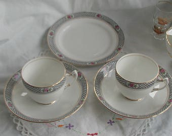 Royal Albert Art Deco Style Black White Cup Saucer x 2 Side Plate