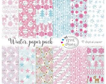 Christmas Digital Paper Pack, Seasonal Digital Pattern, Winter Digital Background, Xmas digital paper, scrapbook papers, holiday paper