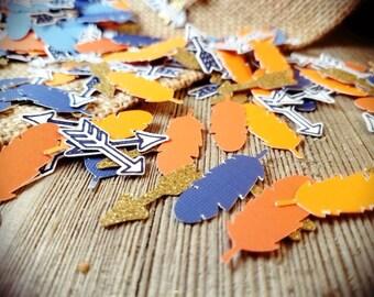 Tribal baby shower, Boho party decorations, boho confetti, Arrow confetti, feather confetti, woodland confetti, woodland party, tribal party