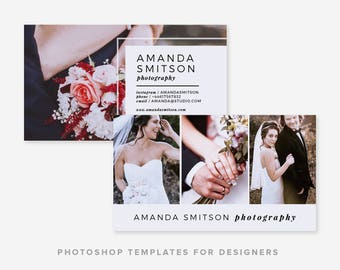 Photographer Business Card Template | Wedding Photographer | Minimal Business Card Design | Digital Photoshop Template | INSTANT DOWNLOAD