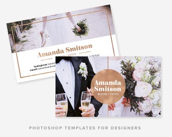 Photographer Business Card Template | Wedding Photographer | Rose Gold Business Card Design | Digital Photoshop Template | INSTANT DOWNLOAD