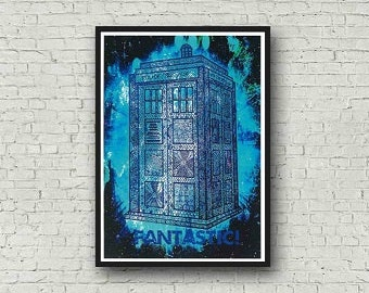Dr Who Tardis Fantastic Zentangle A4 Coloured Quote Art Print