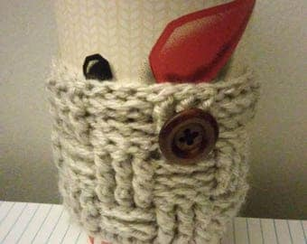 Handmade crochet gray basket weave coffee coozie with button