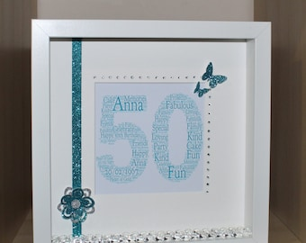 Personalised Birthday shadow box frame gift 18th 21st 30th 40th etc