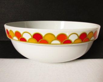 Georges Briard Carousel China, Large Serving Bowl, Vegtable Bowl Bright Graphics Orange Red Yellow on White, Mod Loft Retro