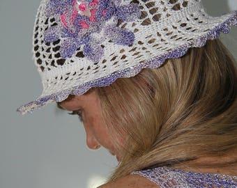 Sun hat woman Crochet summer hat Cotton hat Beach hat woman Purple white hat Hat with brim Crochet flower  Woman sun hat white flower