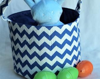 Toy Bin, Nursery Bin, Fabric Storage Basket, Personalized Easter Basket Blue Chevron, Easter Hunt Basket, Fabric Basket, Storage Bin