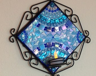 Shiny Blue Arches Candle Holder