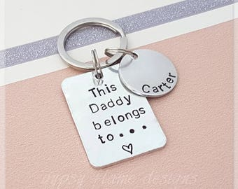This Daddy belongs to keyring, Daddy keyring, personalised keyring, gift for dad, gift for him, personalised gift, this dad belongs to