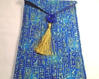 Large Egyptian hieroglypics handmade quilted tarot bag travel altar bag ritual tool bag blue gold purple