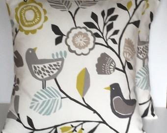 "2 x 16"" (40cm x 40cm) Clarke & Clarke Folki Chartreuse Scandi Style Cushion Covers"