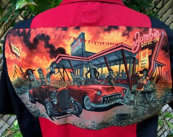 Rat Rod Hot Rod Zombie Rockabilly Shirt Psychobilly Shirt 50's Drive Inn Diner Eco Dickies Size Large