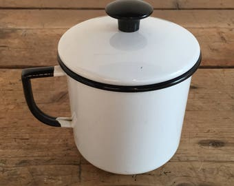 Vintage Small White and Black Enamelware Pot with Lid and Handle