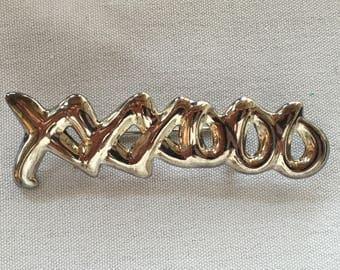 Sterling XOXO Pin Hugs Kisses Brooch Tiffany Style