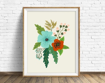 "floral art prints, flower wall art, folk art, instant download printable art, large art, large wall art, prints - ""Folk Art Flowers No. 5"""