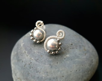 Spiral natural metallic silver pearls paired with hematite. 925silver studs. Freshwater pearl. Bridal. Bridesmaid. Anniversary. Gift (20158)
