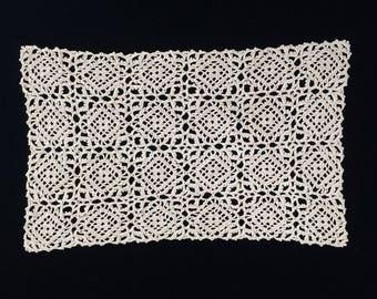 Crochet Doily. Oblong Ecru Crochet Doily. Venetian Crochet Lace Doily. Ecru/Beige Colour Venetian Crochet Lace Doily RBT1707