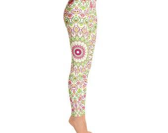 Mid Rise Yoga Pants for Spring - Bright Summer Fun Leggings, Cute Mandala Flower Leggings, Printed Leggings Tights