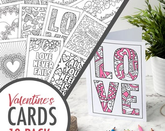 Valentine's Day Coloring Cards – Set of 10 Printable Greeting Cards to color and make for a Valentine's Day Gift | Printable PDF Templates